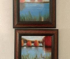 مجموعه ای از دو نقاشی رنگ و روغن قاب